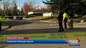 Senior in serious condition after being struck by vehicle