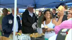 President Trump serves food to Hurricane Irma victims in Florida