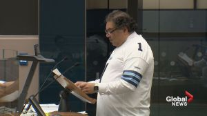 Calgary mayor Naheed Nenshi reads poem written by John Tory after Argos Grey Cup win