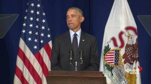 Obama says current strong economy as much his doing as Donald Trump's