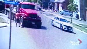 Surveillance video appears to show moment suspect steals Peel police car