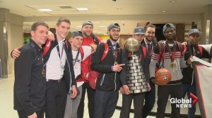 Calgary Dinos basketball team returns home after historic national championship win