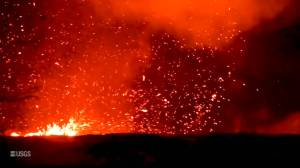 Whirlwind of lava rises above fissure in Hawaii
