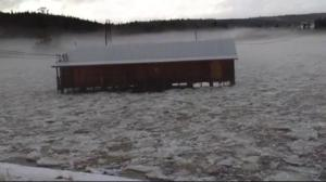 Ice jam, heavy rain cause N.B. river to spill its banks