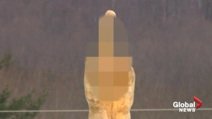 Middle finger statue baffles onlookers in Vermont town