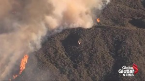Aerial footage shows Holy Fire sweeping through national forest