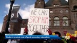 Ontario students swear at premier during protest at Queen's Park