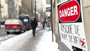 Icy conditions wreak havoc on Montreal pedestrians