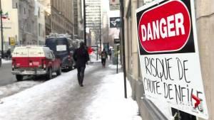 Icy conditions wreak havoc on Montreal pedestrians