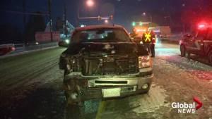 Crash follow snowfall on Central Okanagan roads