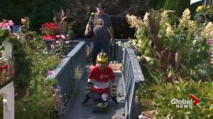 Double amputee does Terry Fox run with a skateboard