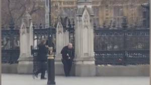 Armed officers seen approaching Houses of Parliament in London following attack