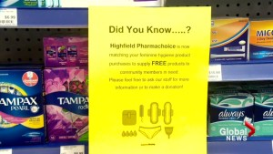 Pharmacy to offer free feminine hygiene products to customers in need