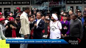 Raptors fans line up outside of Jurassic Park 15 hours before tipoff