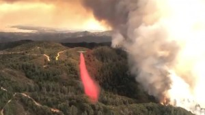 A 'river fire' blazes on near Mendocino, California