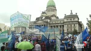 Argentine unions, workers stage rainy pushback against austerity measures