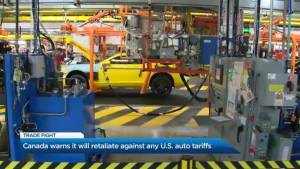 Canada warns the U.S. it will strike back if it imposes tariffs on the Canadian auto industry