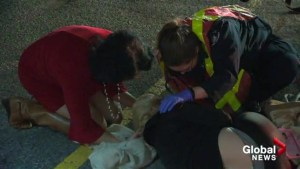 Global News reporter first on scene at crash administers first aid to victim
