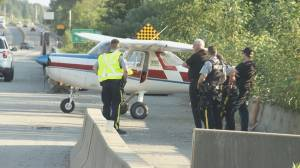 Small plane lands on side of Surrey highway