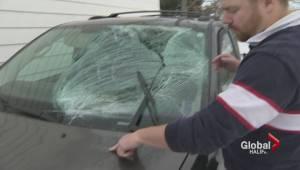 Flying ice sheet crushes minivan