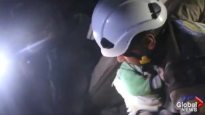 White Helmets release video of child being rescued in Syria's Idlib after purported air strike