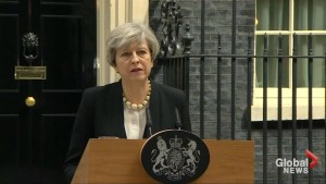 Theresa May condemns 'callous terrorist attack' in Manchester