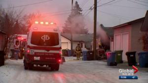 Fire guts garage, destroys vehicles in southeast Calgary