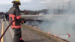 Grass fire ignites along Highway 401 near Port Hope