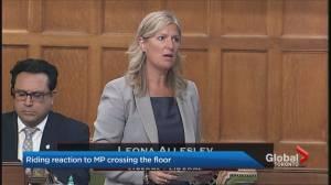 Constituents react to Leona Alleslev's shocking floor crossing (02:12)