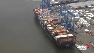 Aerial footage shows cargo ship where 16.5 tons of cocaine was seized in Philadelphia, PA