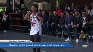 Raptors victory parade: Kyle Lowry thanks the fans for their support