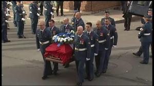 Warrant officer Patrice Vincent carried into funeral service