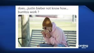 Justin Bieber may be eating burritos the wrong way
