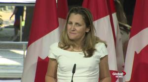 Freeland does not divulge if Canadian drug prices are key sticking point in NAFTA talks