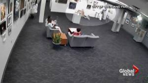 Security camera shows small child toppling art display at Kansas community centre