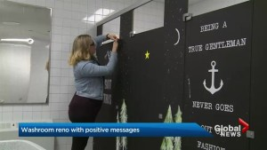 Bowmanville woman spreads inspirational messages using school washrooms