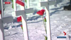 The Last Post, Amazing Grace performed at Calgary's Field of Crosses