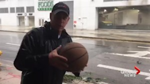 Global News reporter sees how far he can throw basketball into hurricane force winds