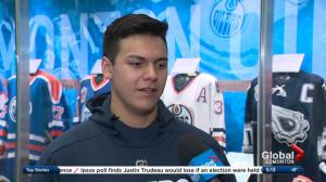 Special debut for Oilers defenceman Ethan Bear