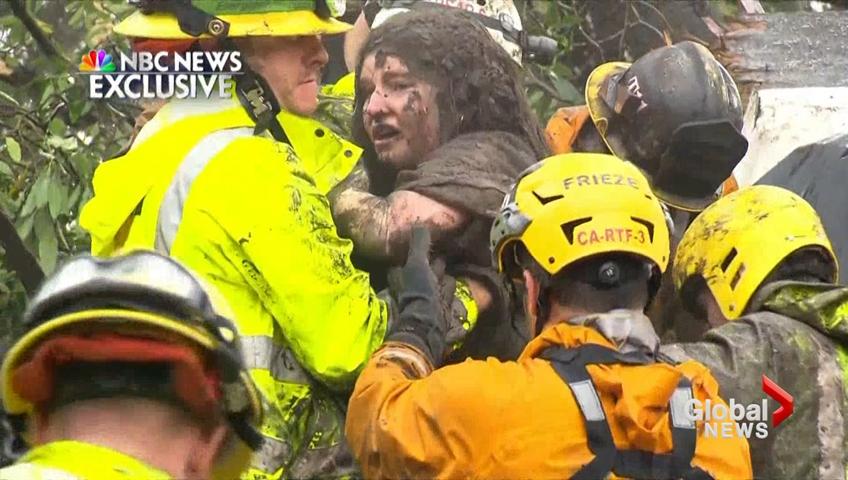 Crews rescue residents as mud engulfs California burn areas