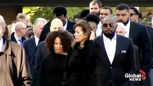 Members of the Pittsburgh Steelers arrive for synagogue shooting victim's funerals