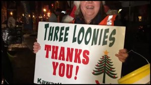 Giving spirit in Peterborough for Three Loonies on the Street