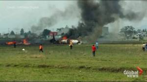 Amateur video shows aftermath of small plane crash in Mexico