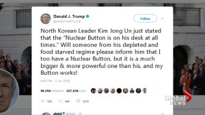 Trump says his nuclear button is 'bigger' than North Korea's
