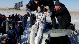 Three astronauts from the ISS land in Kazakhstan