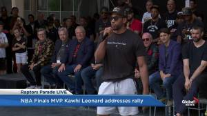 Raptors victory parade: Kawhi Leonard thanks fans for welcoming him to Toronto