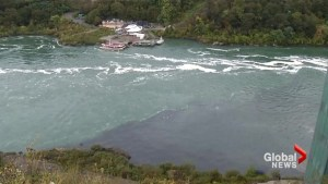 Niagara River turned black by another sewage leak
