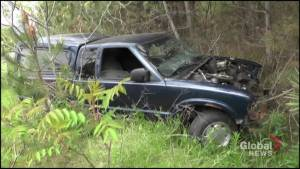 Crashed pickup found abandoned near Fleming College in Peterborough