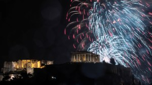 New Year's 2019 fireworks illuminate the Parthenon in Athens