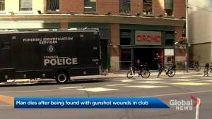Man dies after being found with gunshot wounds at downtown Toronto nightclub